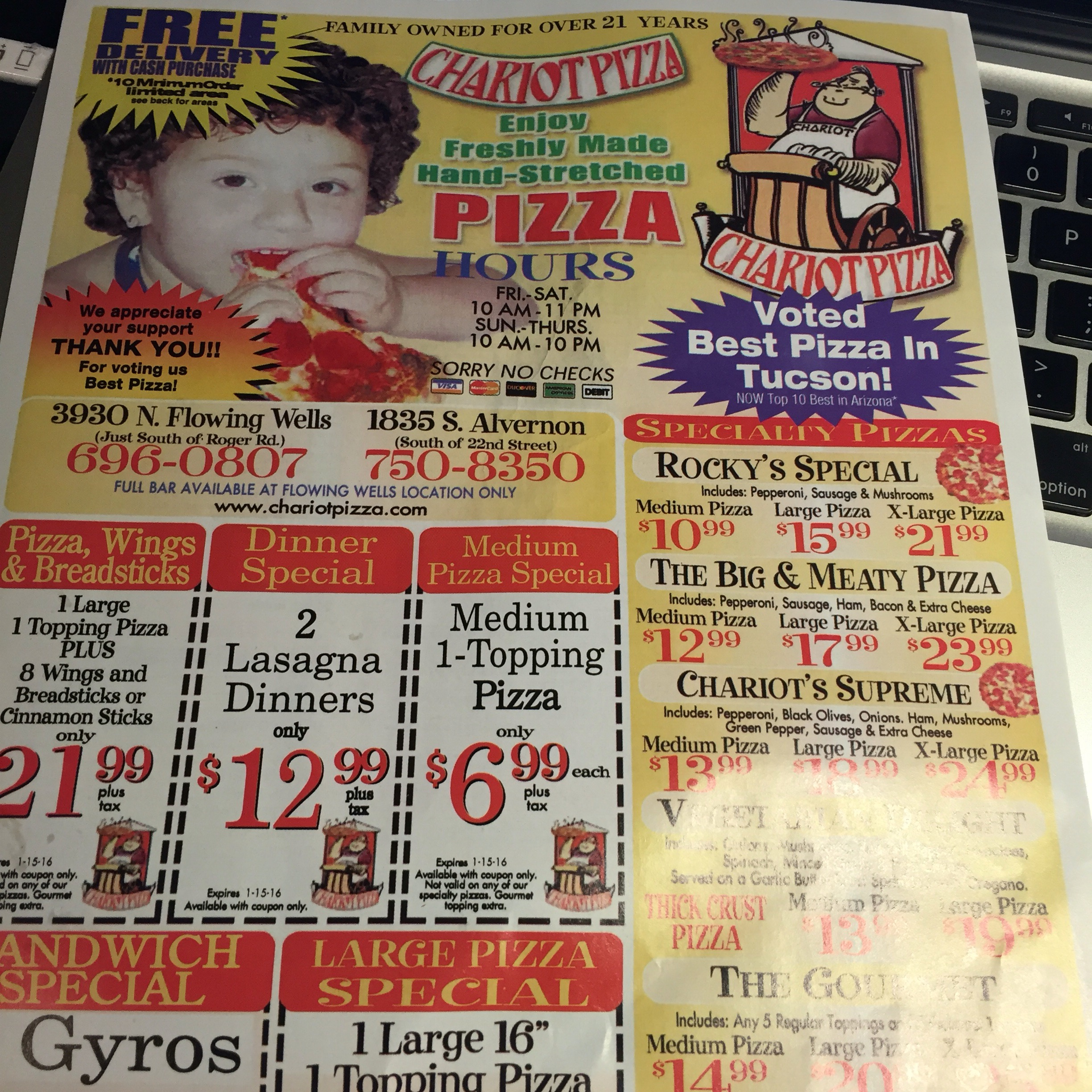 Chariot Pizza Menu